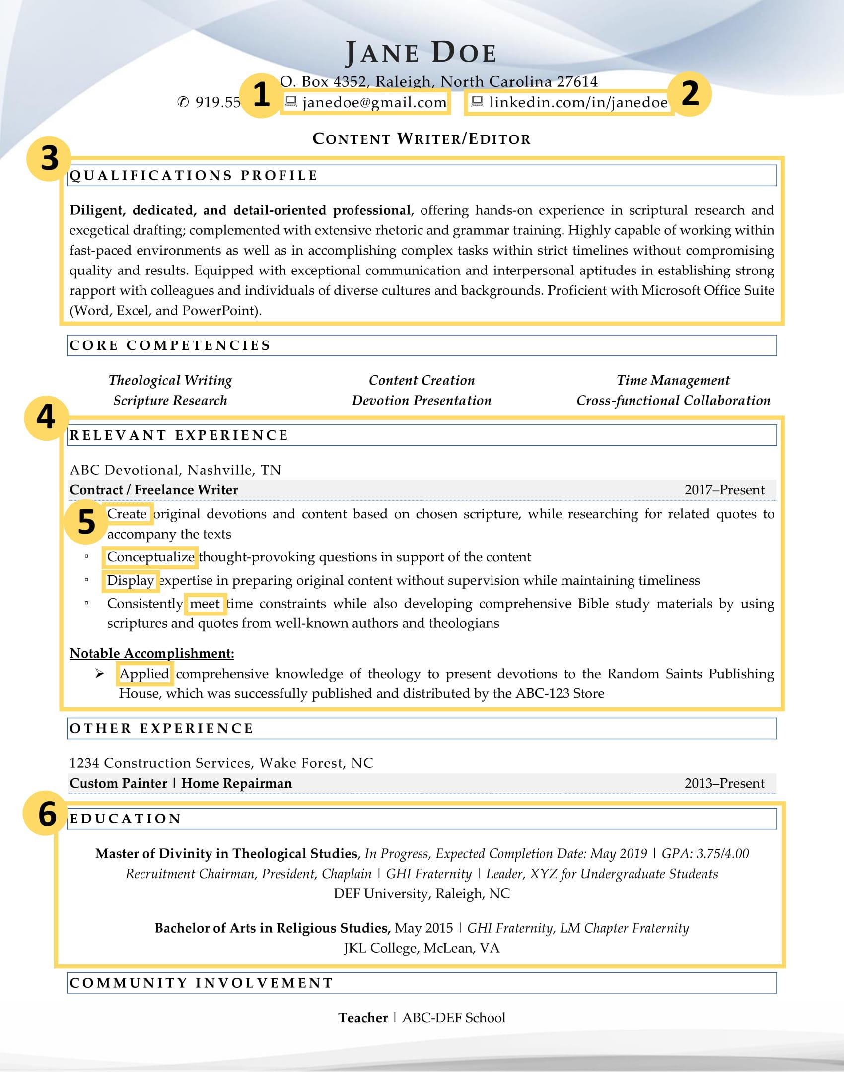 factors excellent recent graduate resume