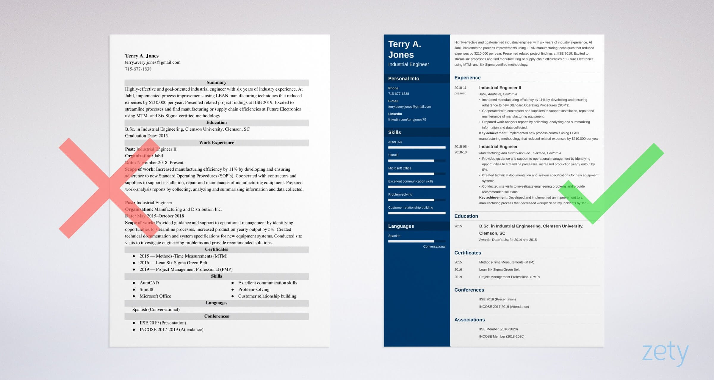 industrial engineer resume example
