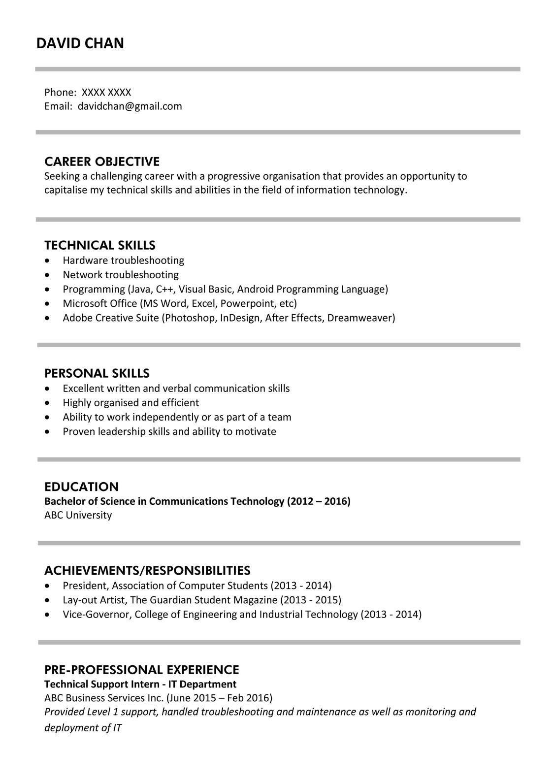 resume templates fresh graduateml
