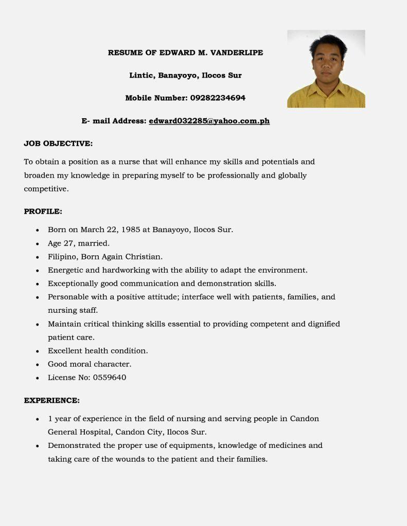 Sample Resume for Fresh Graduate Nurses with No Experience Resume Sample for Fresh Graduate Proper Curriculum Vitae Sample ...