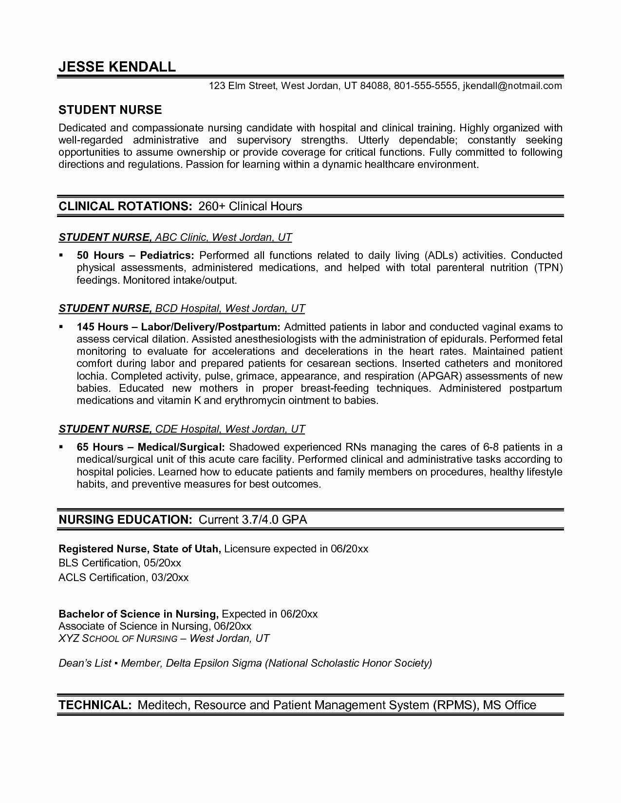 sample resume for graduate nursing scholml