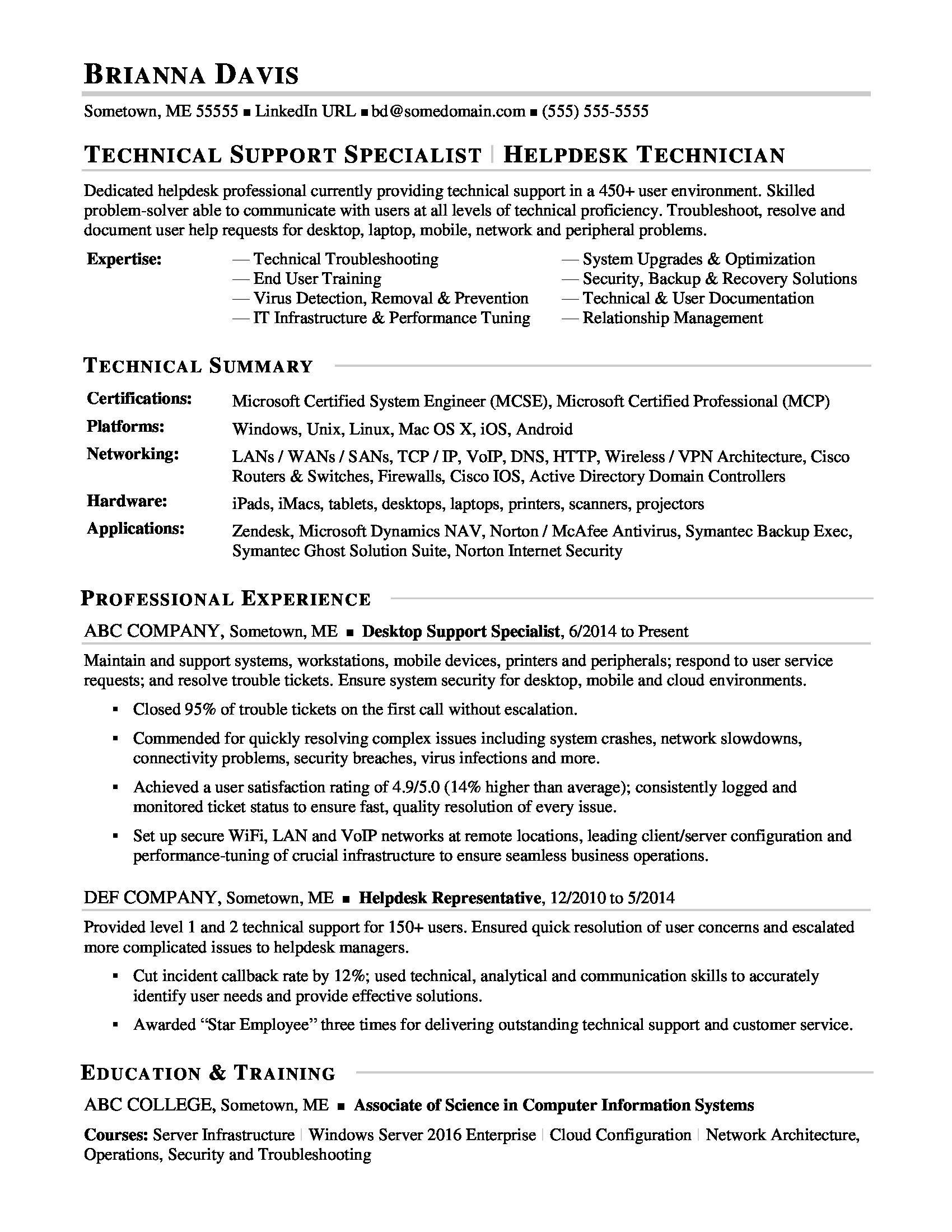 sample resume IT help desk