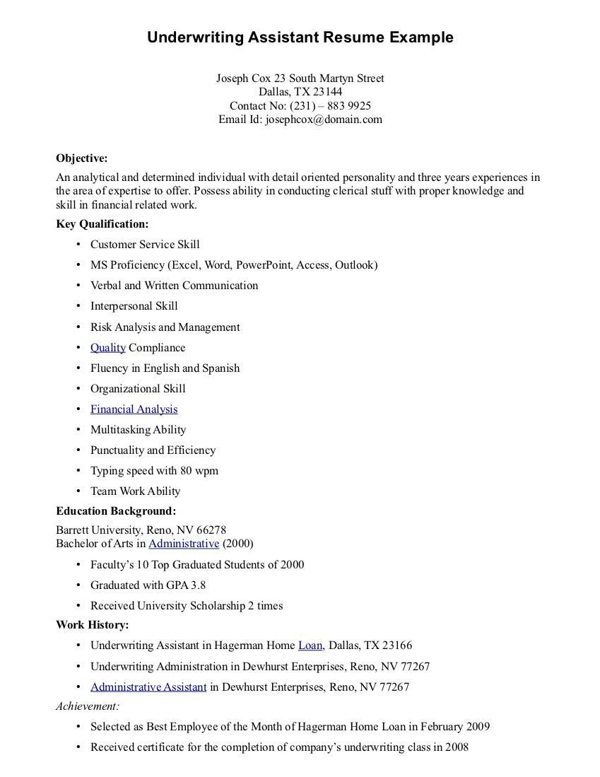 Sample Resume for Insurance Underwriter assistant Insurance Underwriter assistant Resume - All Information About ...
