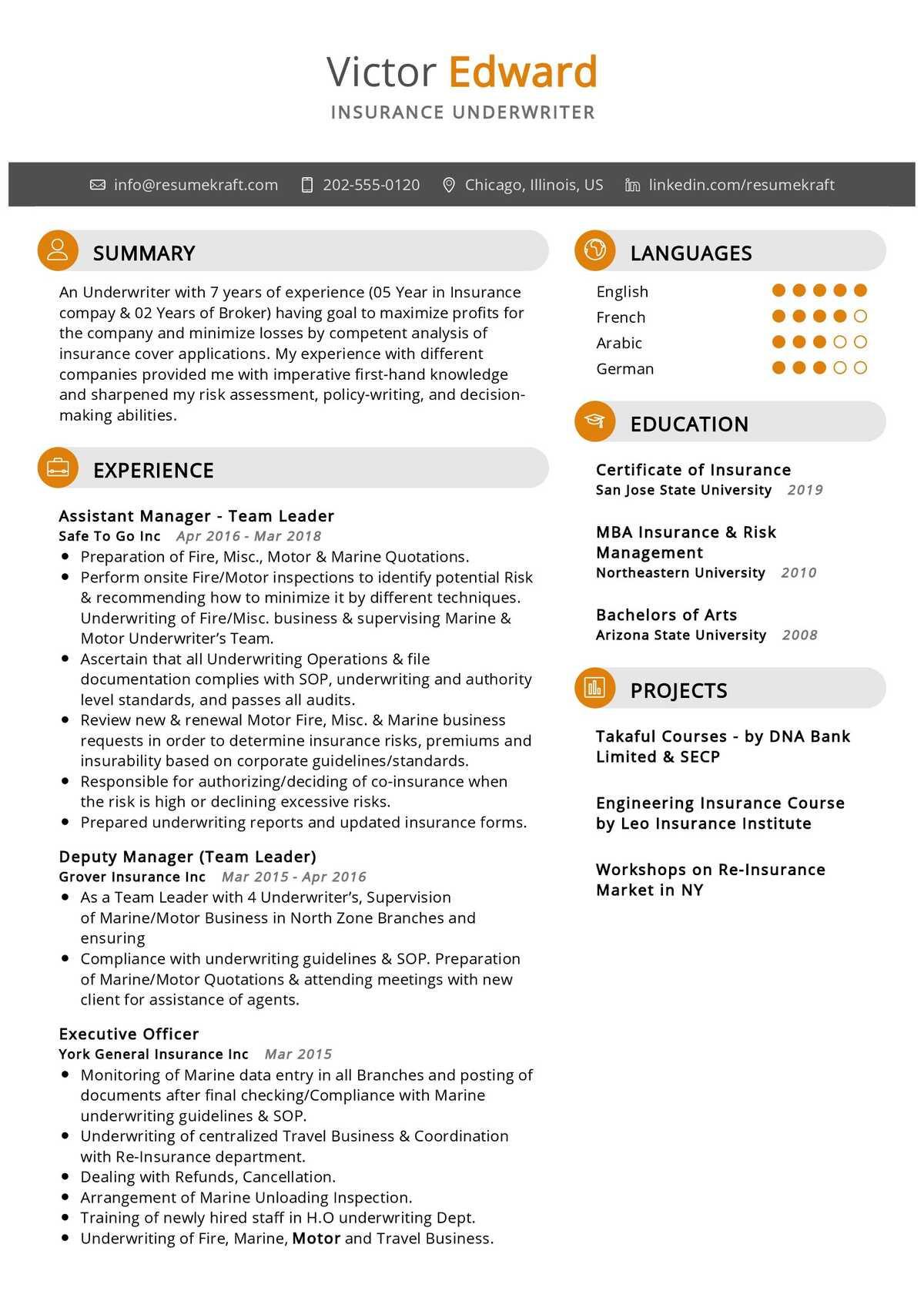 insurance underwriter resume sample