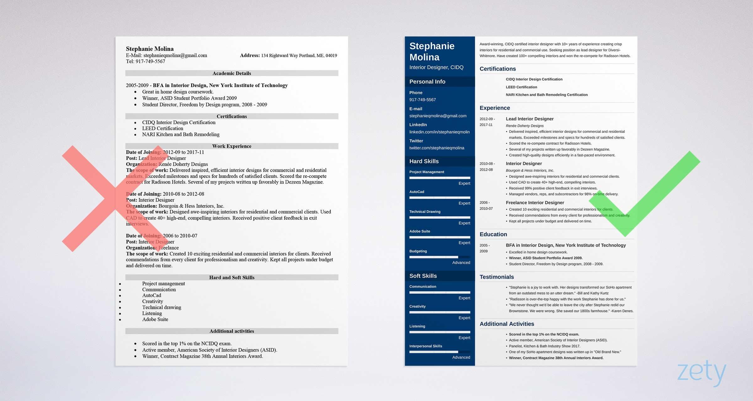 interior design resume example