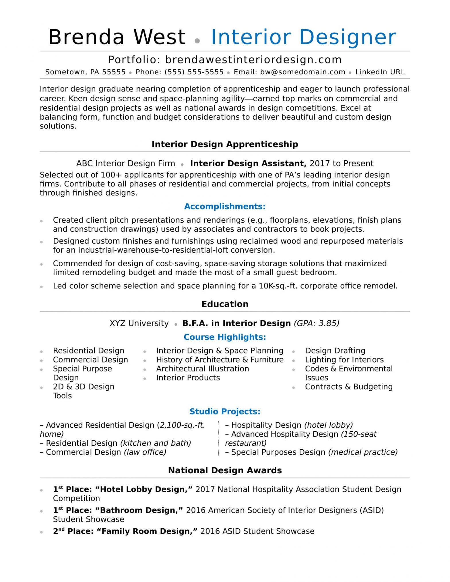 Sample Resume for Interior Design Internship Interior Design Resume Sample Monster.com