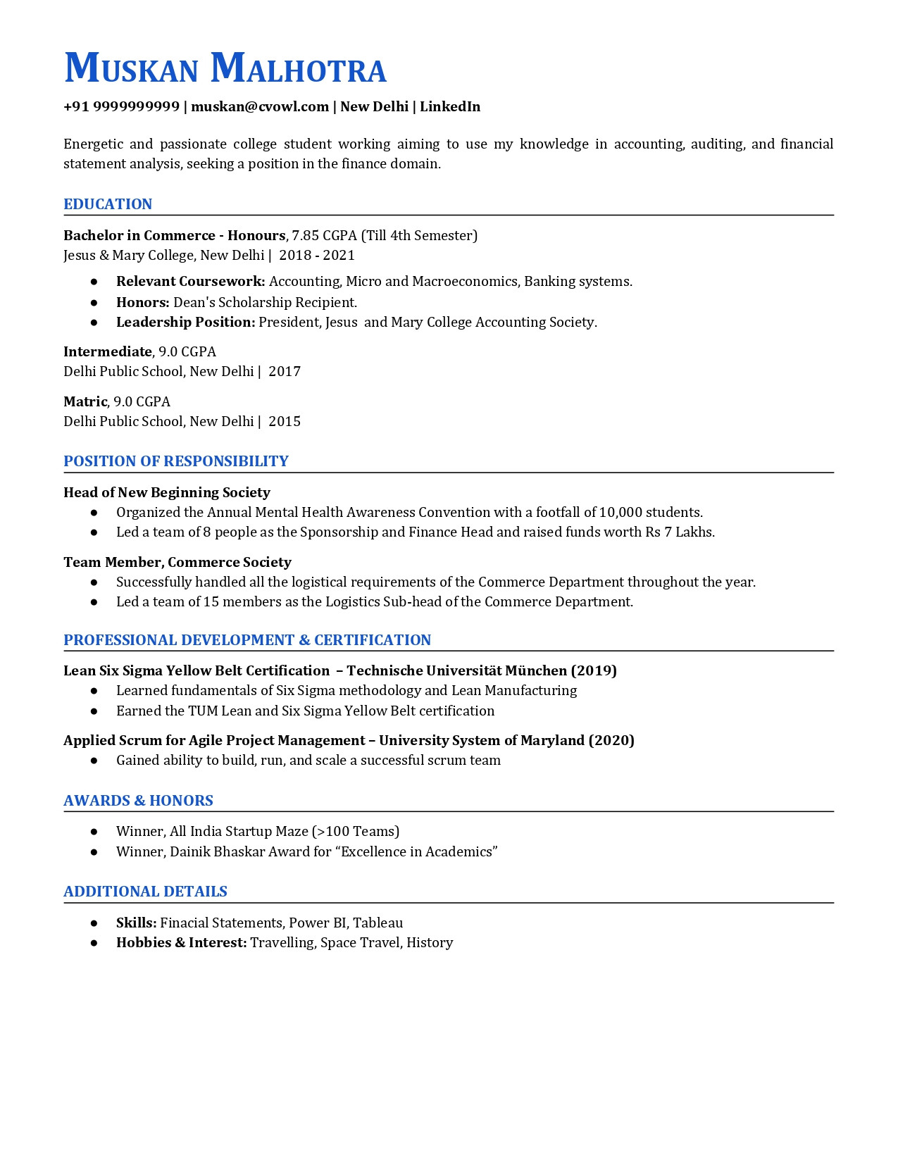 intern resume sample