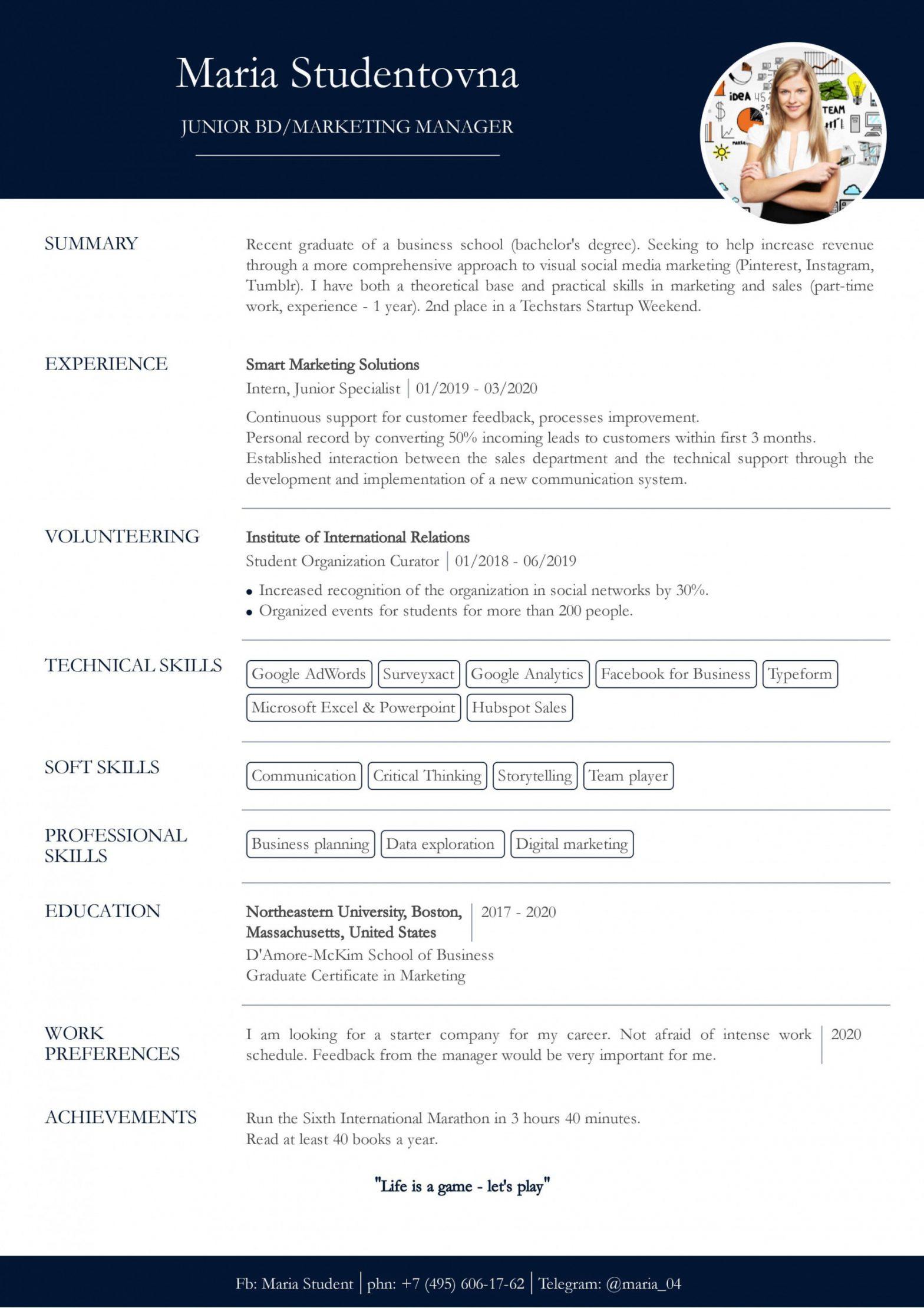 Sample Resume for Internship No Experience Resume with No Work Experience. Sample for Students. - Cv2you Blog