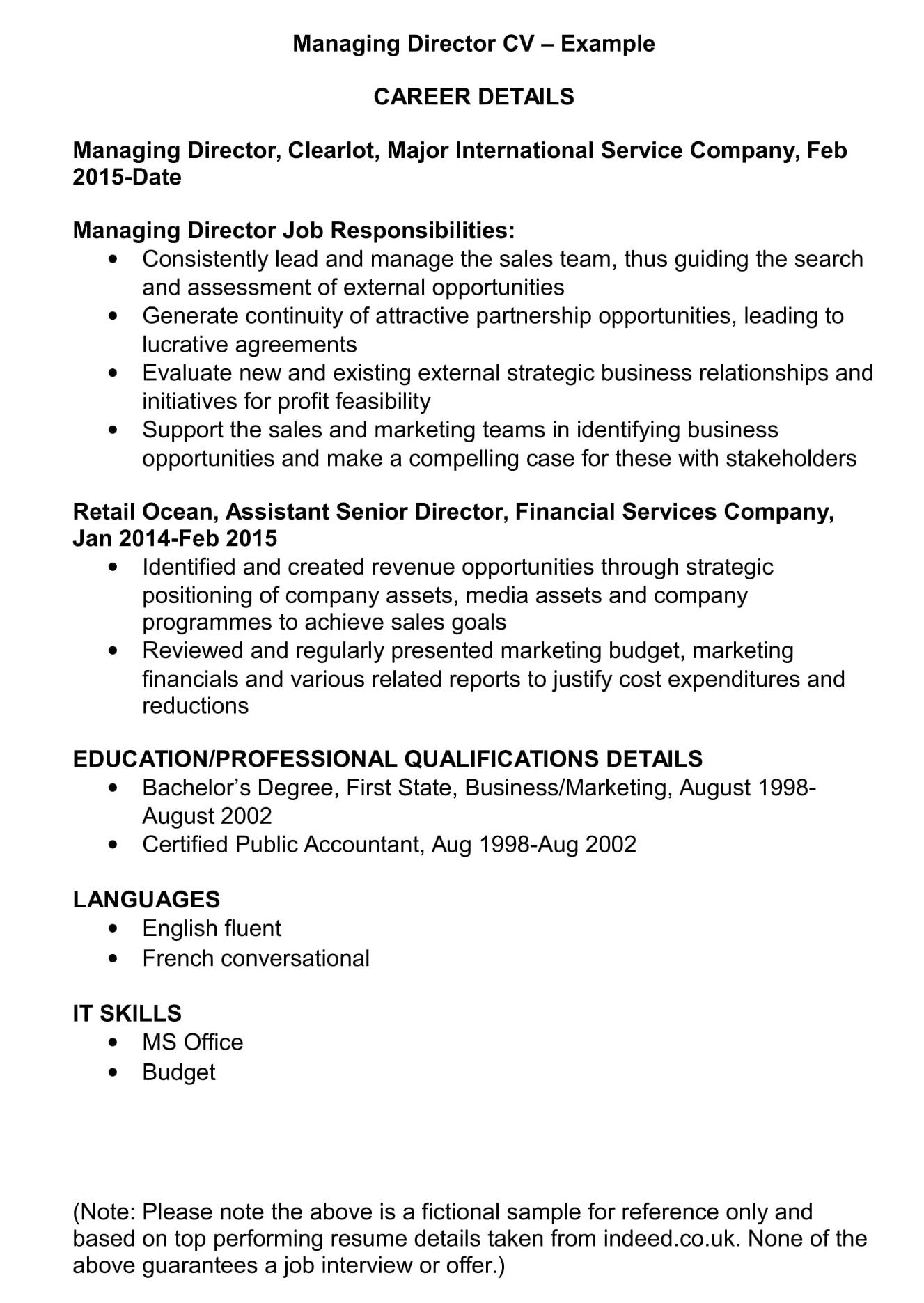 managing director cv template and examples renaix