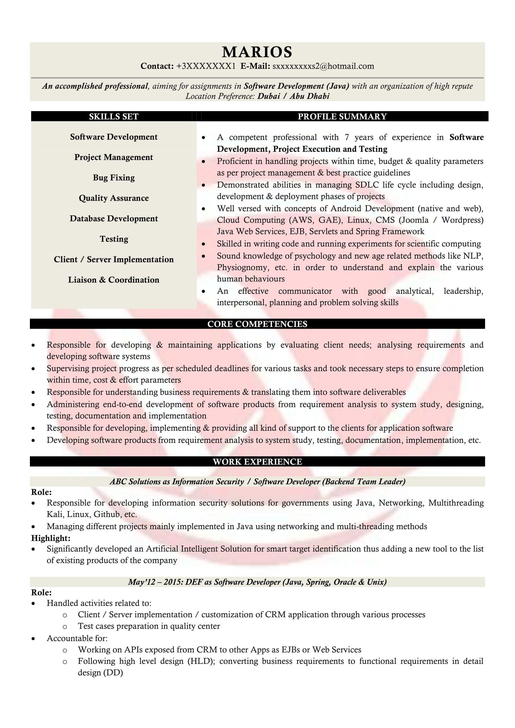 java developer resume sample format