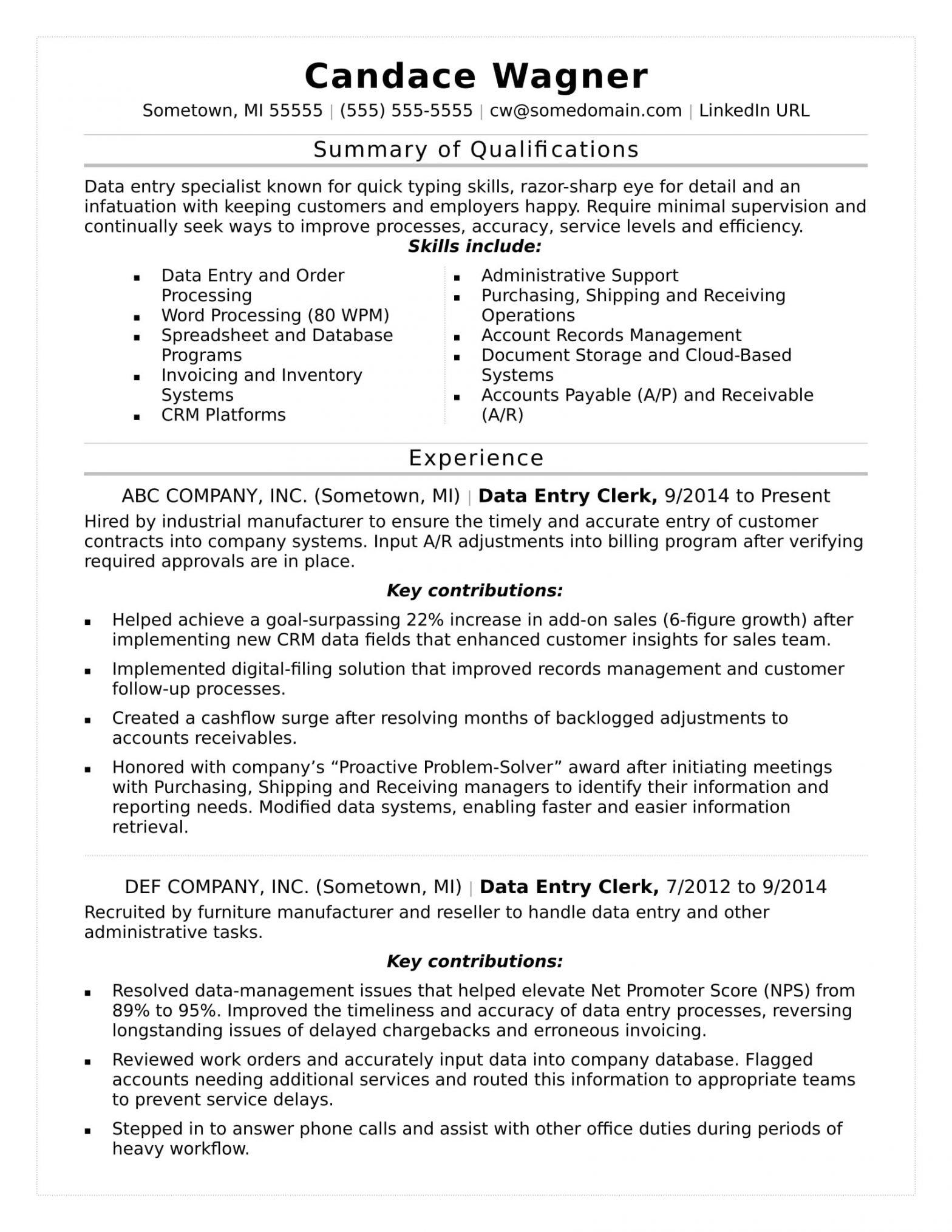 Sample Resume for Online Typing Job Data Entry Resume Sample Monster.com