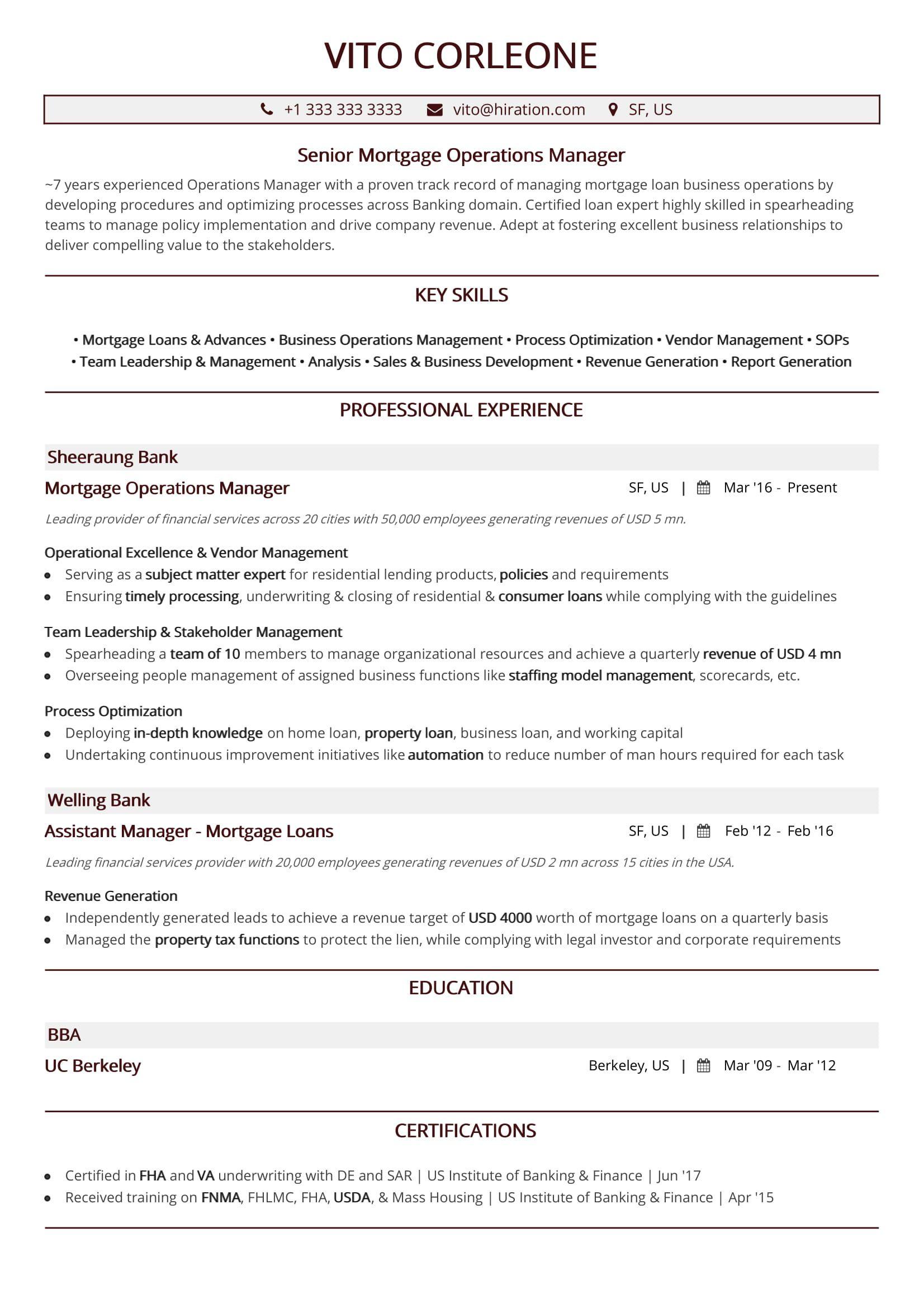 best operations resume