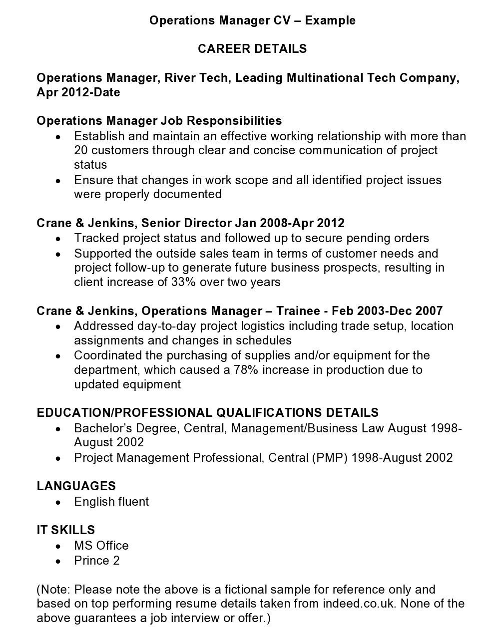 operations manager cv template beispiele