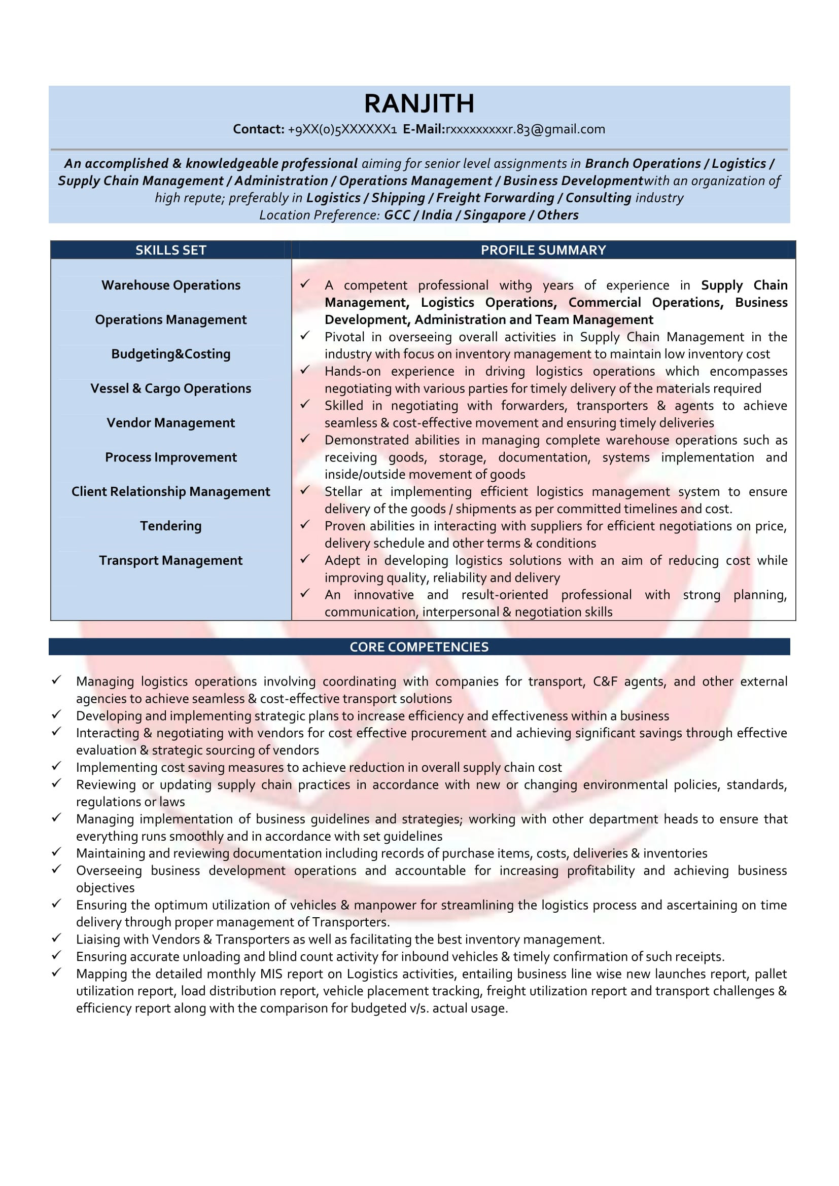 operations manager resume sample format
