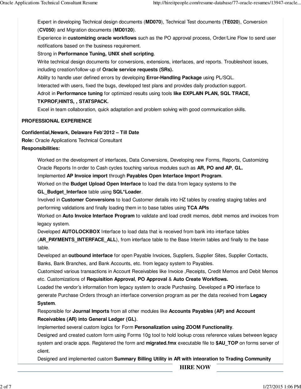 Oracle applications technical consultant resumeml
