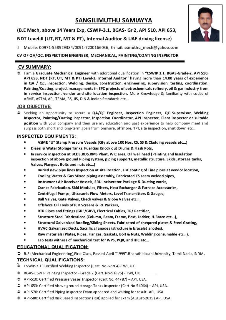 Sample Resume for Paint Shop Engineer Cv Of Qaqc, Inspection Engineer, Welding, Painting & Coating Inspecto…