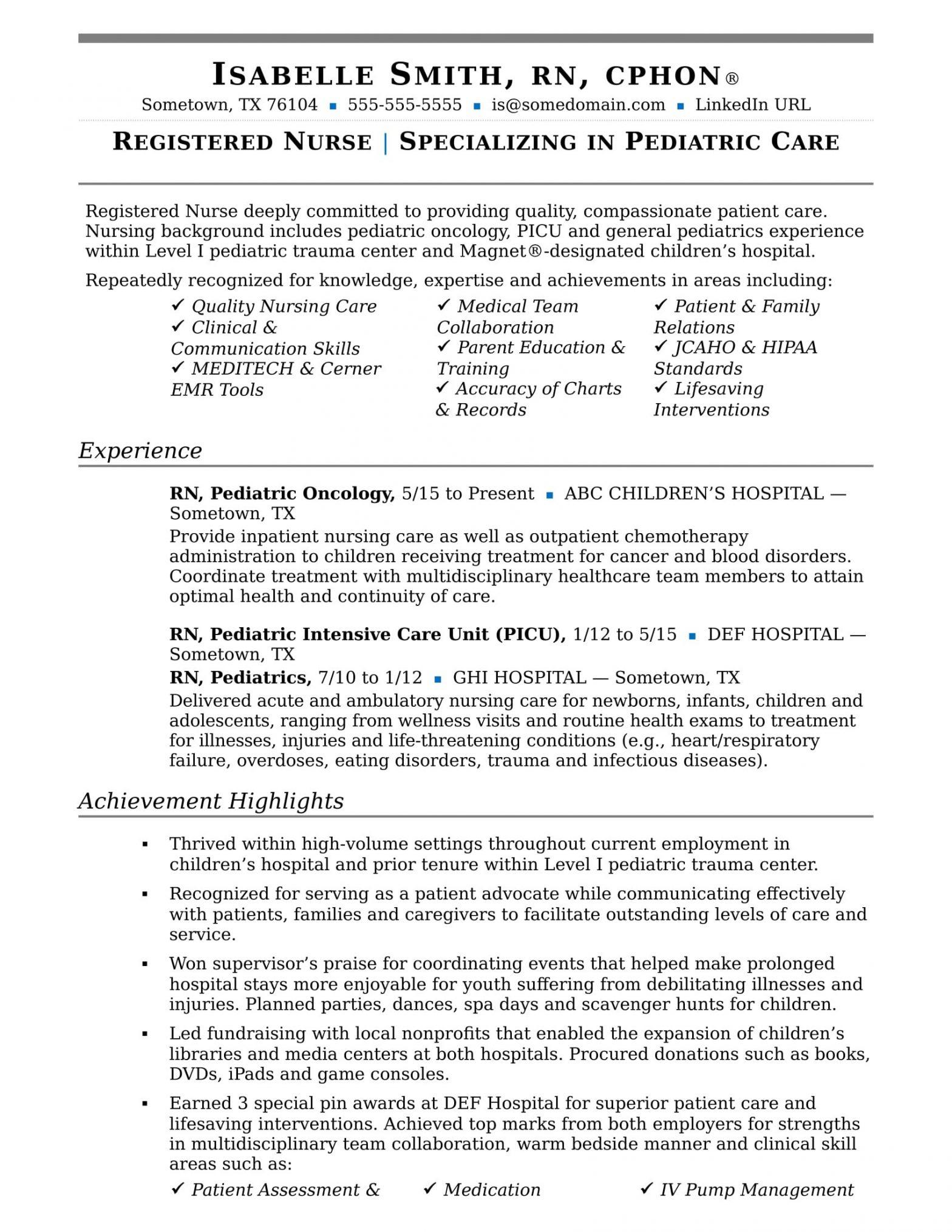 Sample Resume for Registered Nurse with Experience Nurse Resume Sample Monster.com