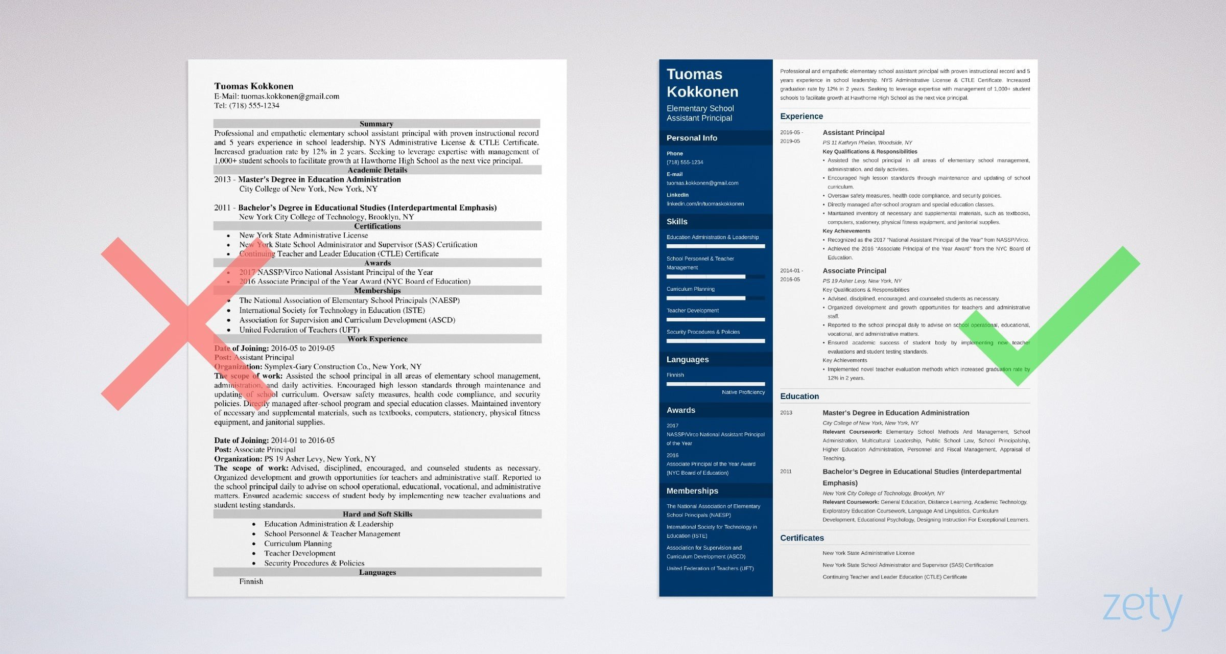 assistant principal resume example