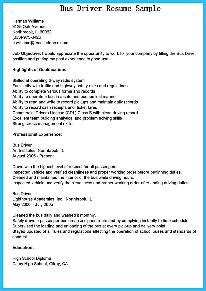 Sample Resume for School Bus Driver Position sounds Like Working as A Bus Driver is Easy. but It is Not. A Bus ...