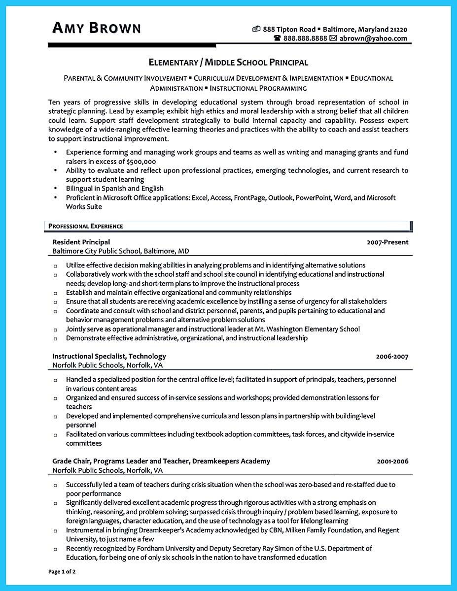 assistant principal resume docml