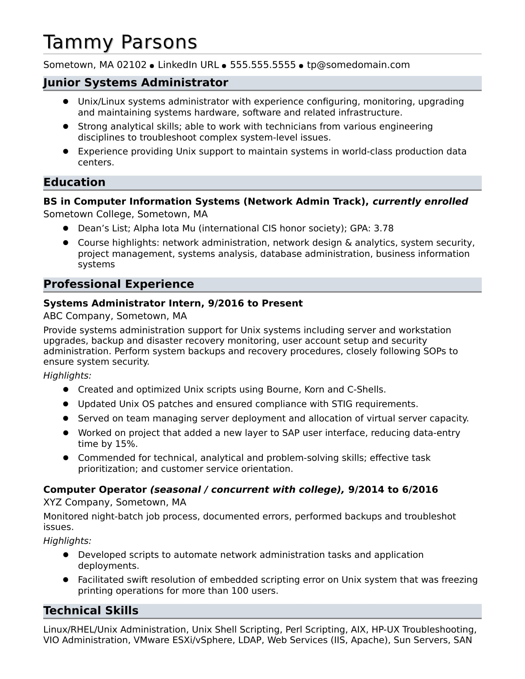 sample resume systems administrator entry level