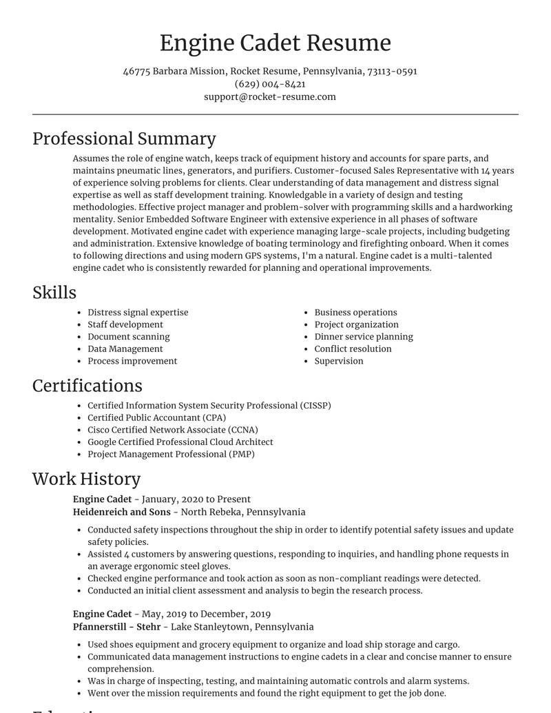 Sample Resume for Seaman Engine Cadet Engine Cadet Resume Maker & Example Rocket Resume