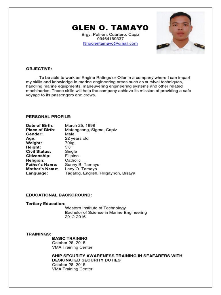 marine engineering Resume