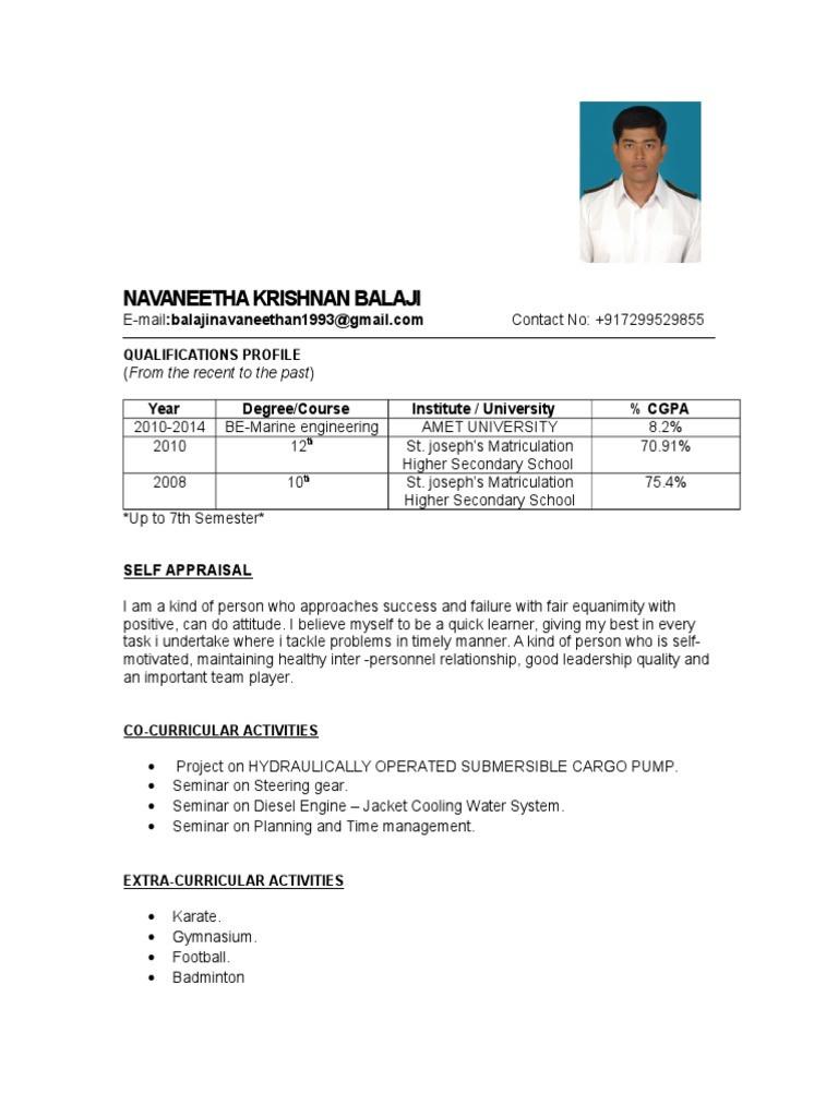 resume for engine cadetml