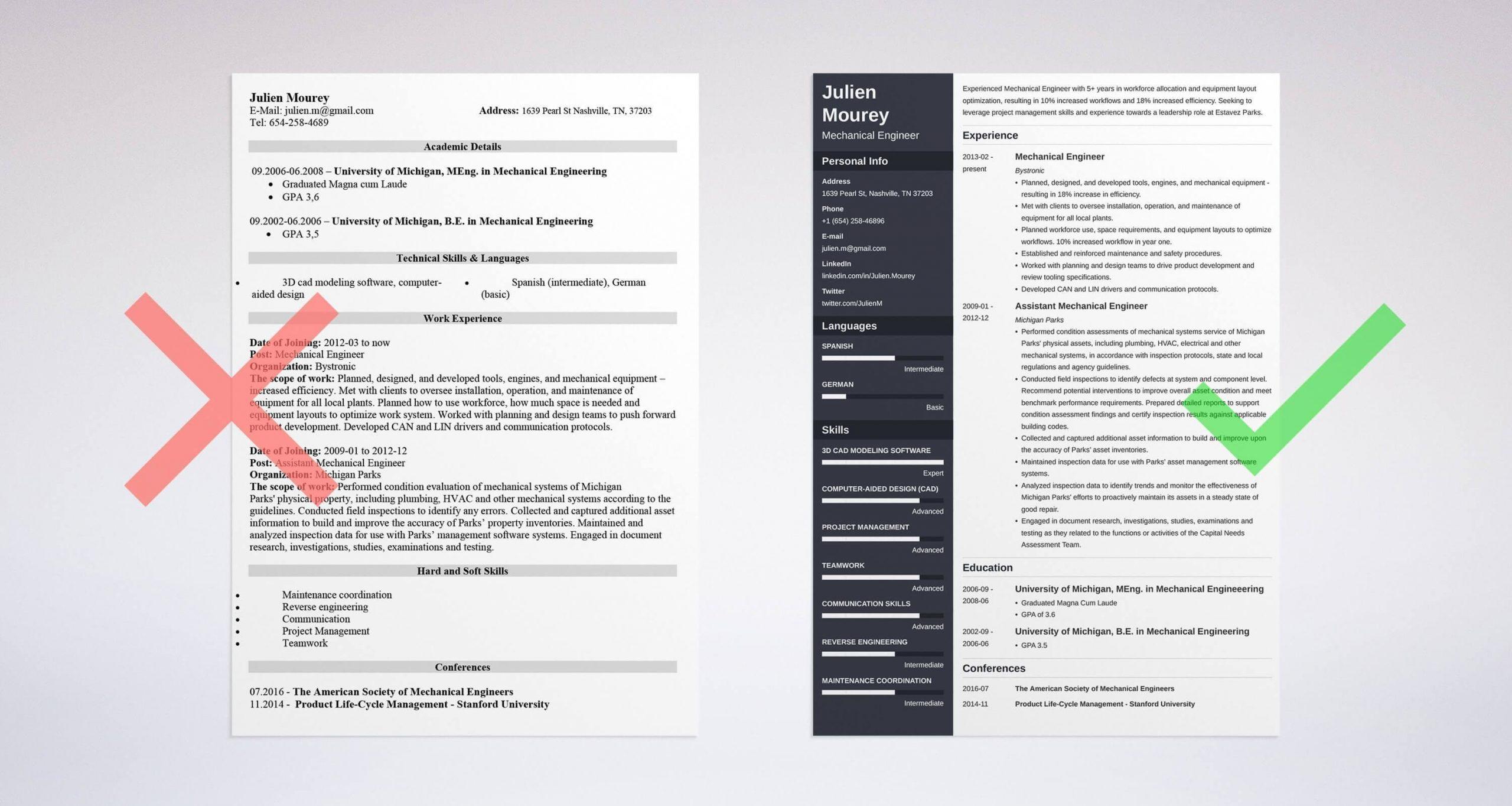 mechanical engineering resume