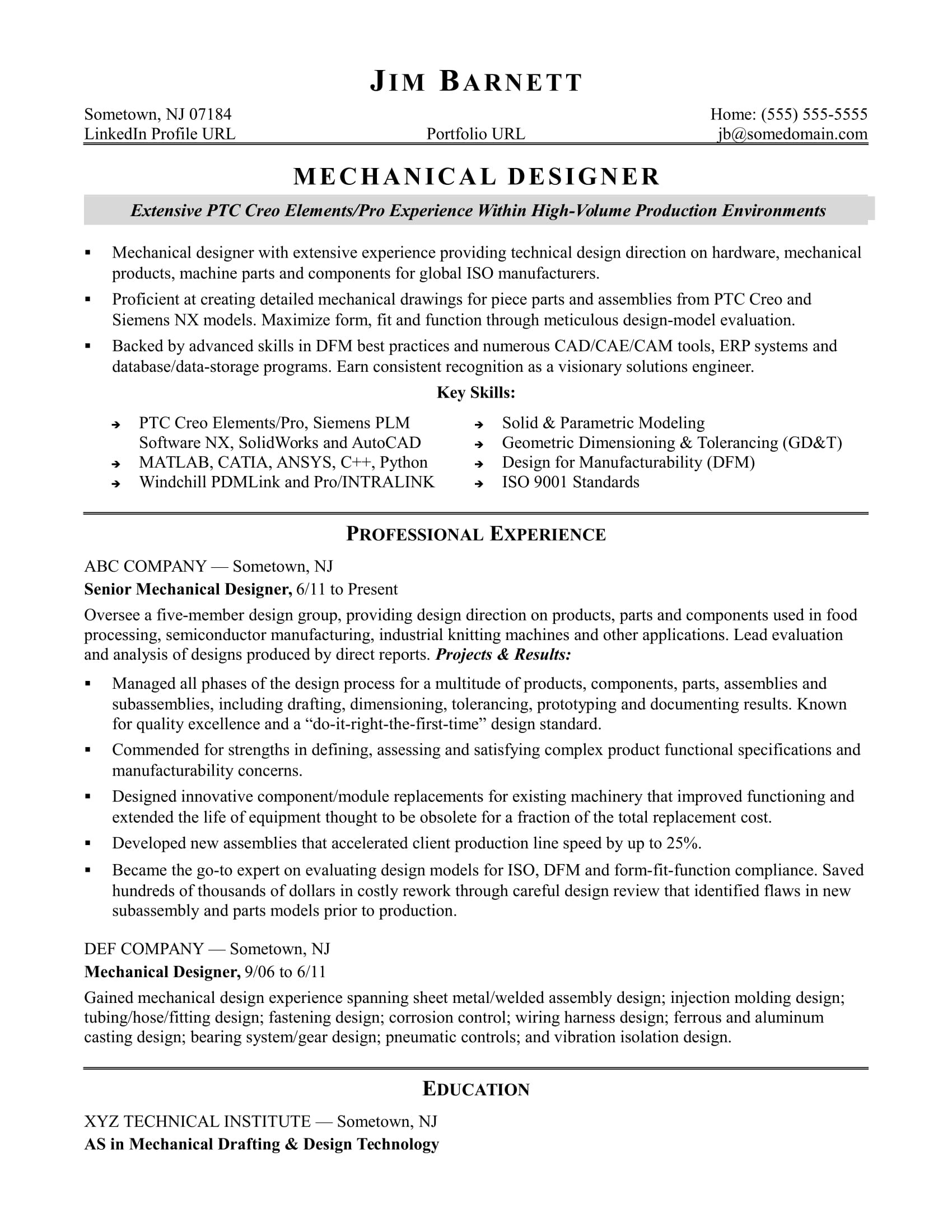 sample resume mechanical designer experienced