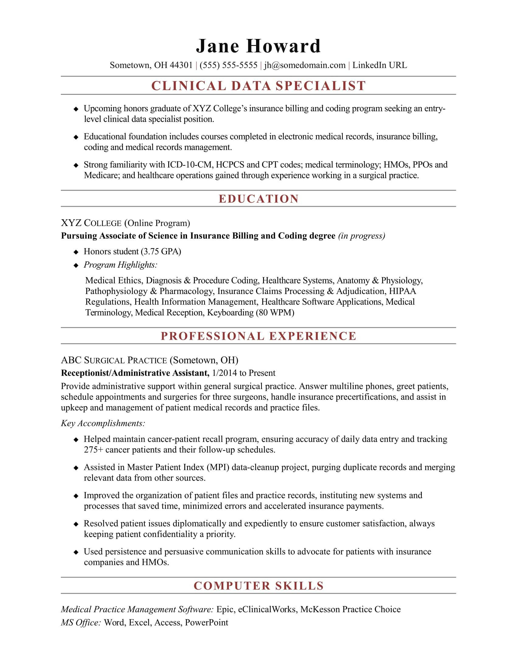 resume examples for health informationml