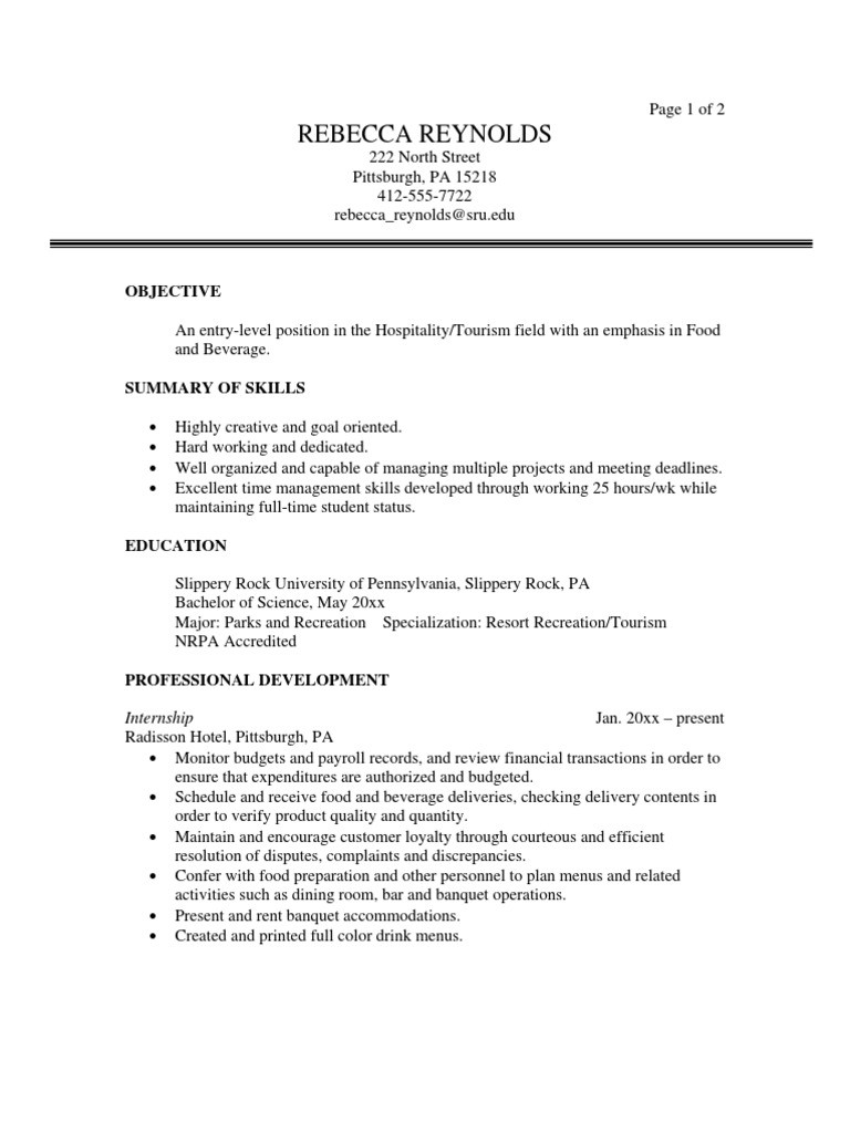 sample objectives in resume for ojt tourism studentsml