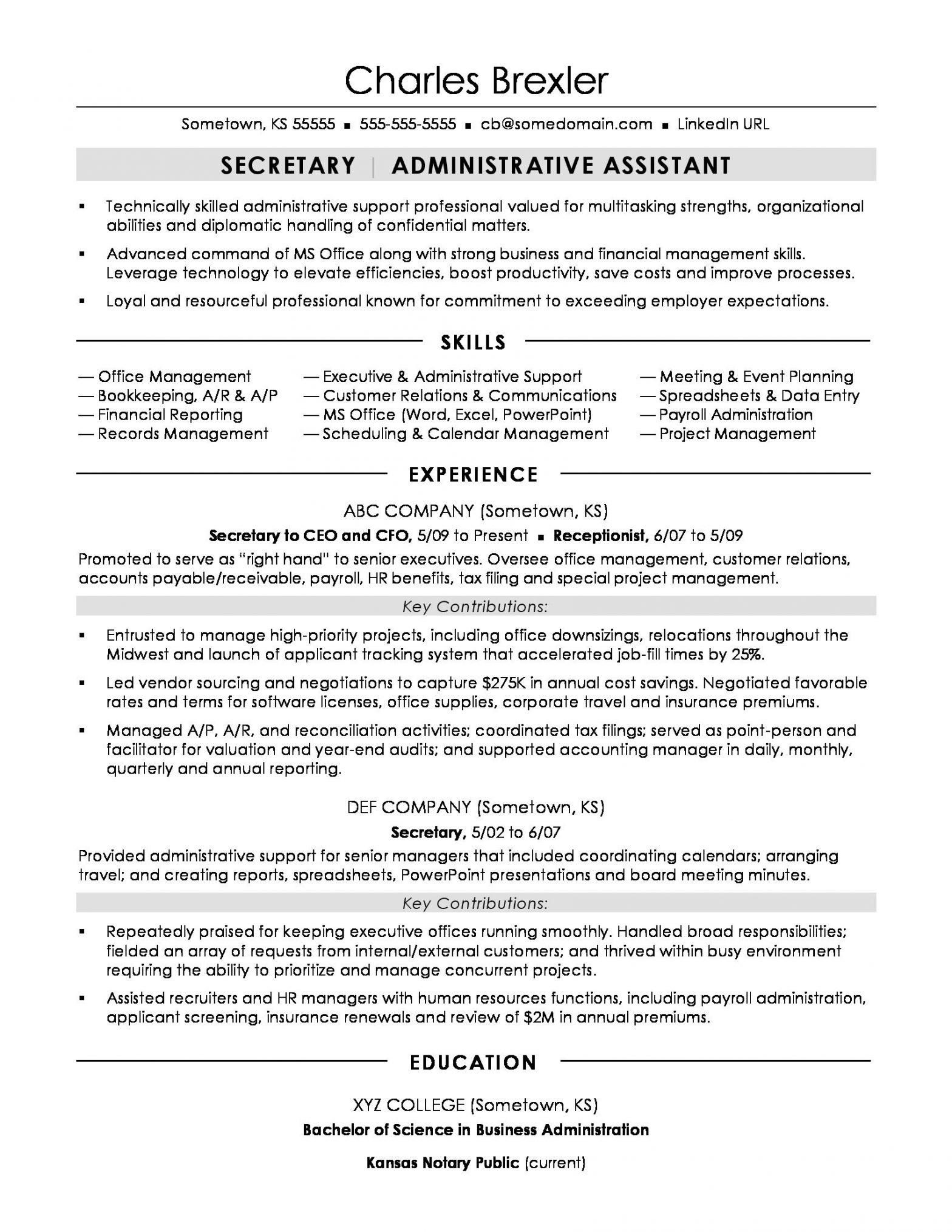Sample Resume Objective for Secretary Position Secretary Resume Sample Monster.com