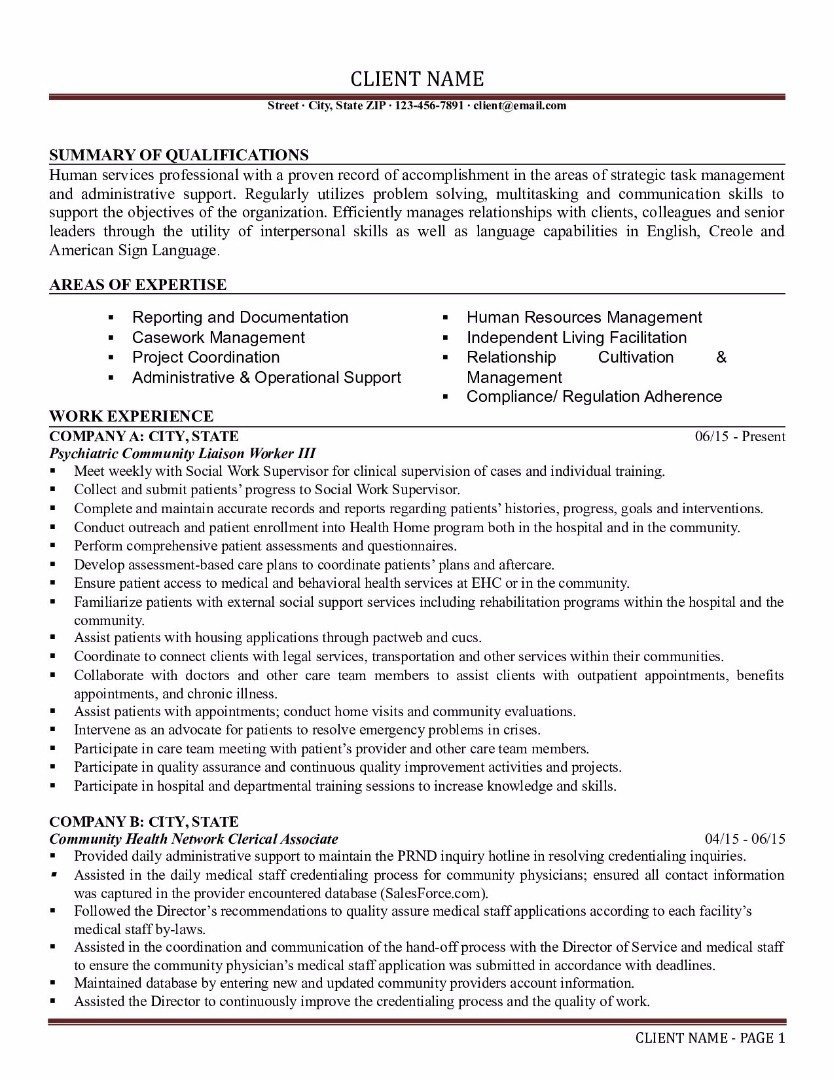 Sample Resume Objectives for Human Services Human Services Resume