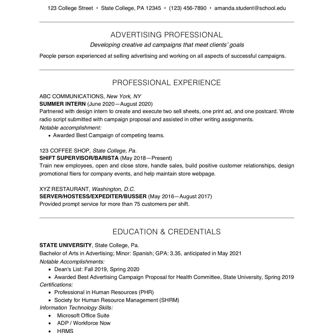 Sample Resume Skills for College Students College Student Resume Example and Writing Tips