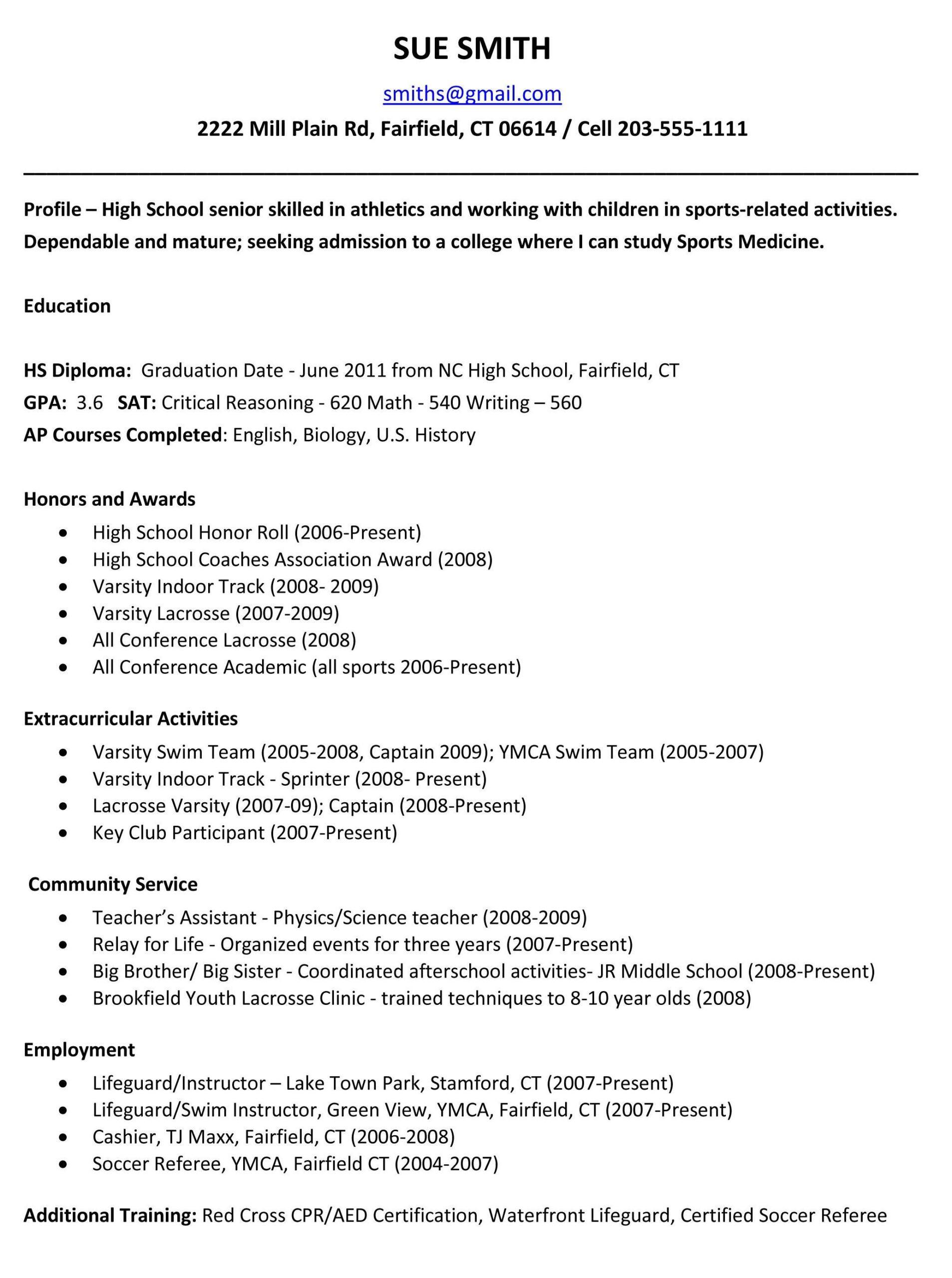 sample resume summary for high school student