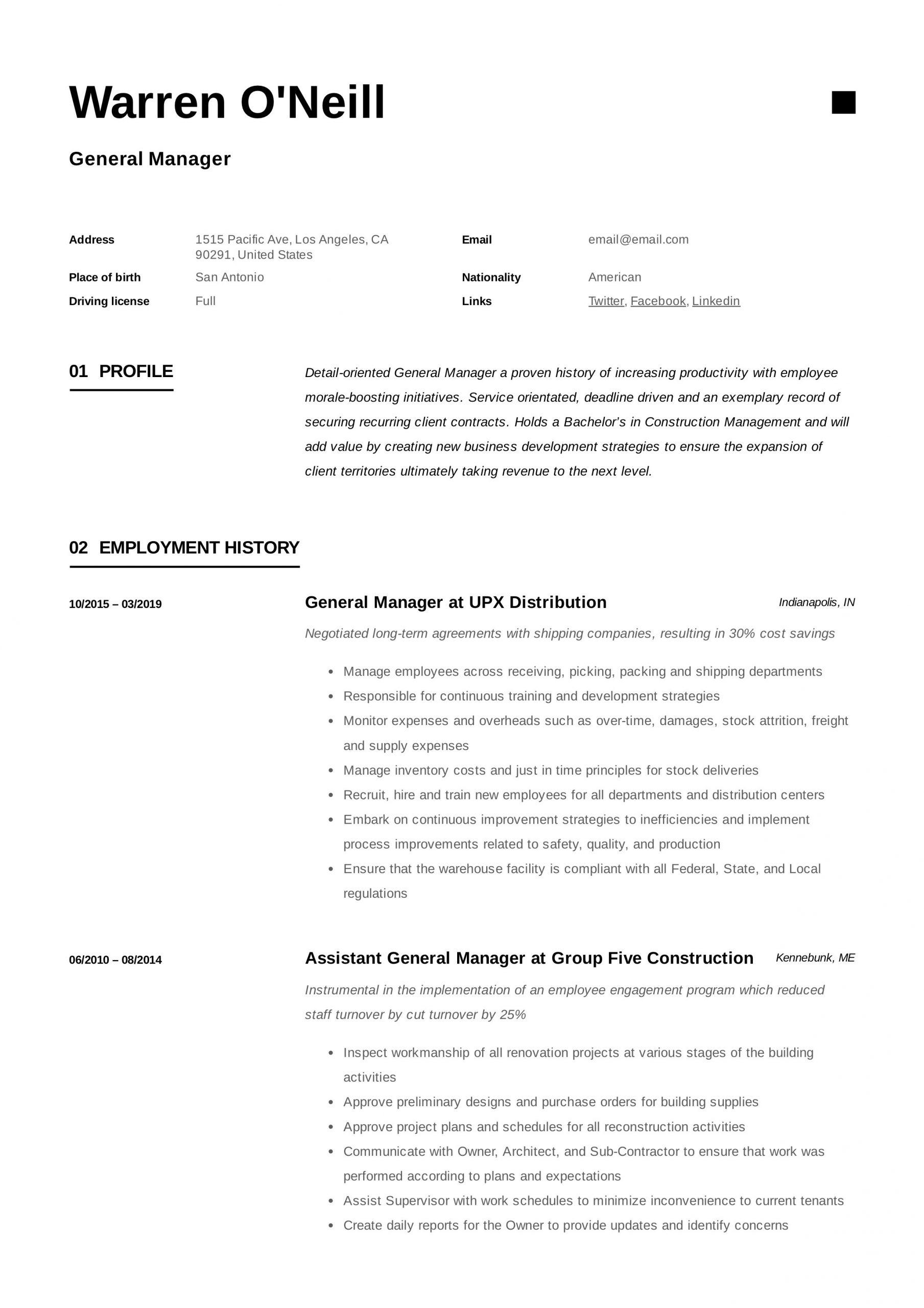 restaurant general manager resume sample pdfml