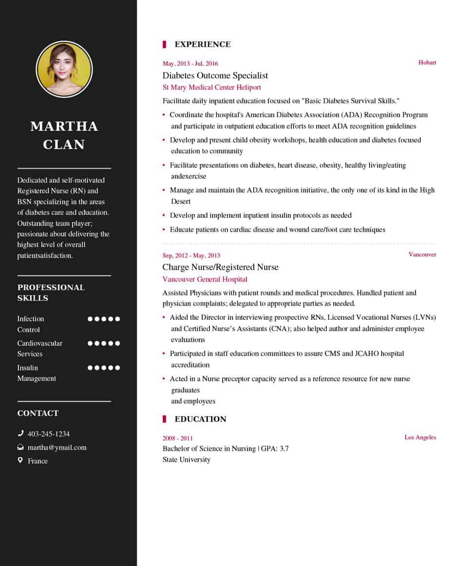 resume heading sample
