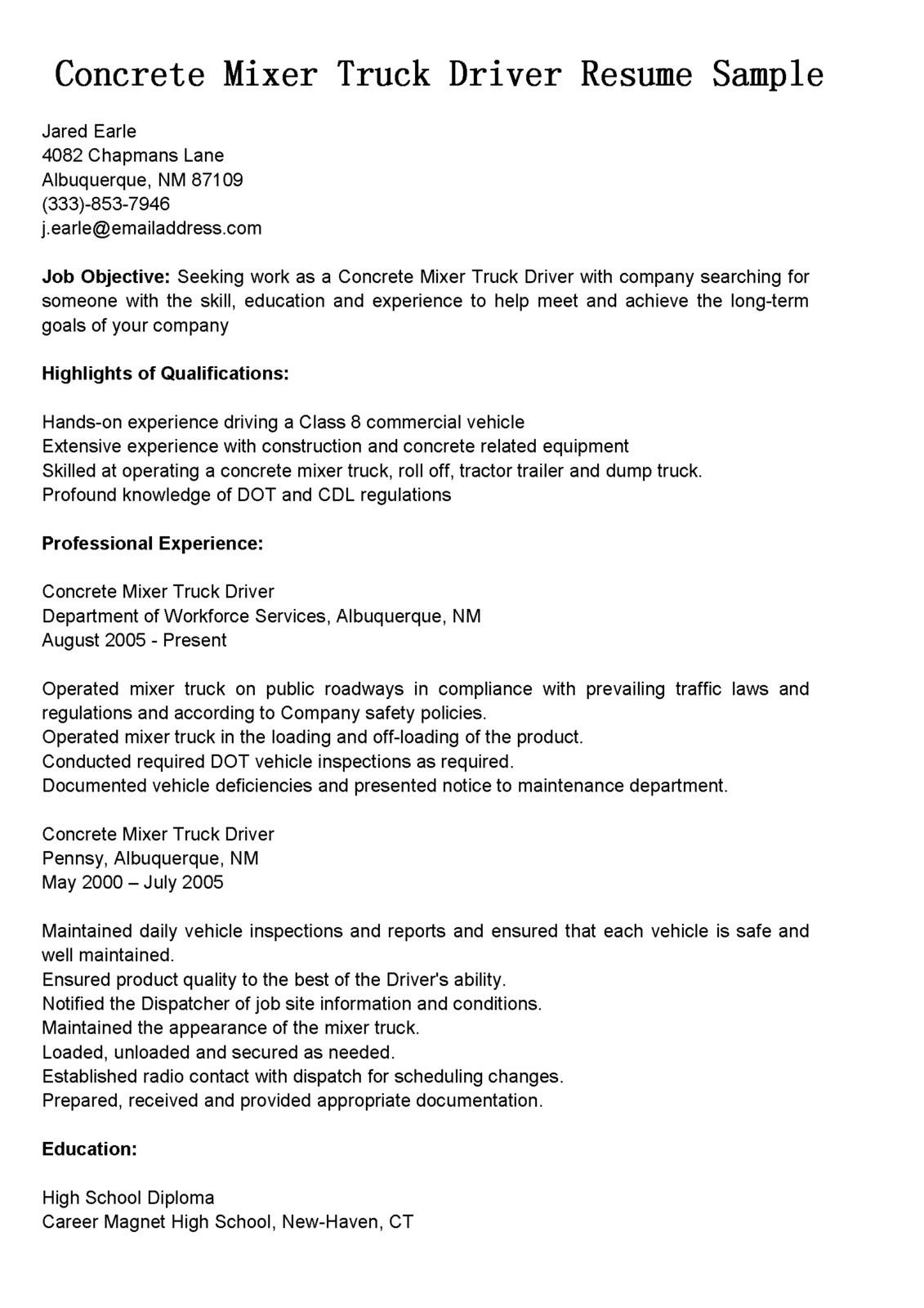 concrete mixer truck driver resumeml