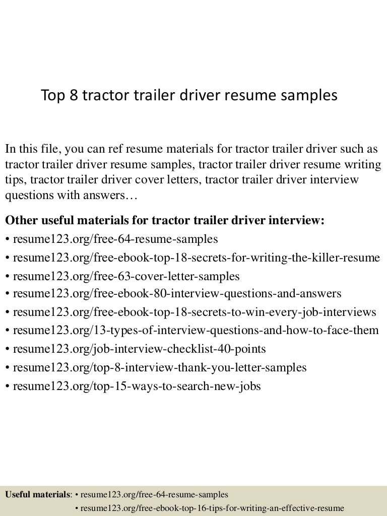 top 8 tractor trailer driver resume samples