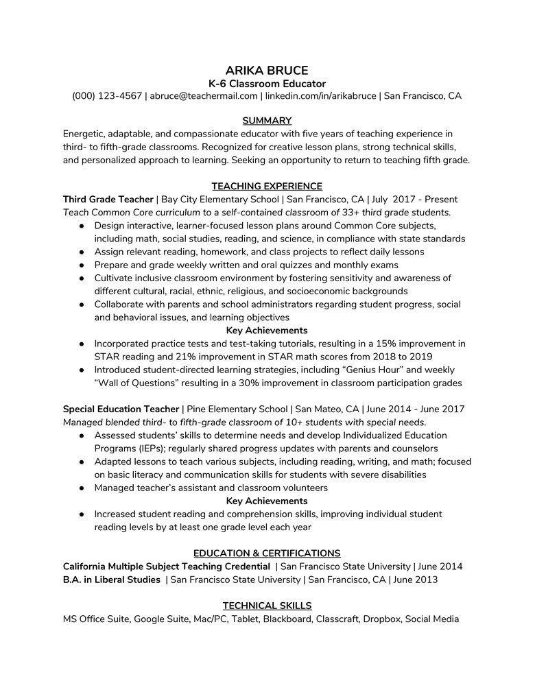 Transition Out Of Teaching Resume Samples How to Write An Alancarrezekiq Teaching Resume (with An Example) -… the Muse
