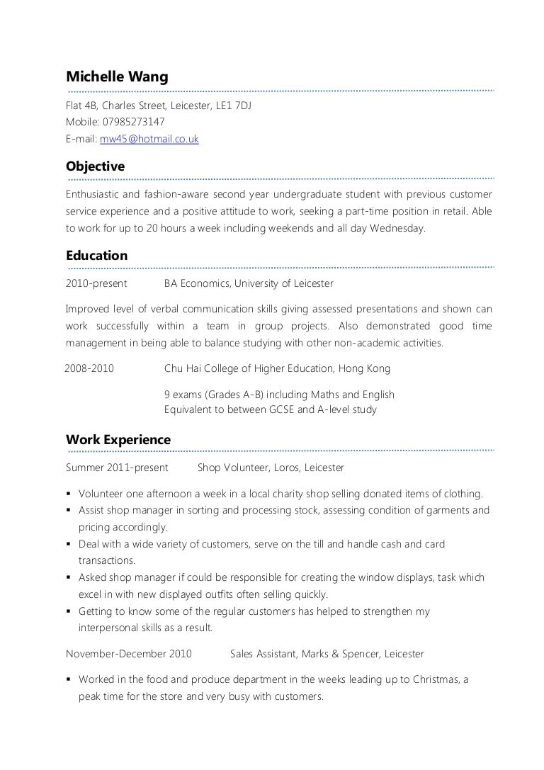 Uk Part Time Jobs Resume Samples Example Part-time Cv