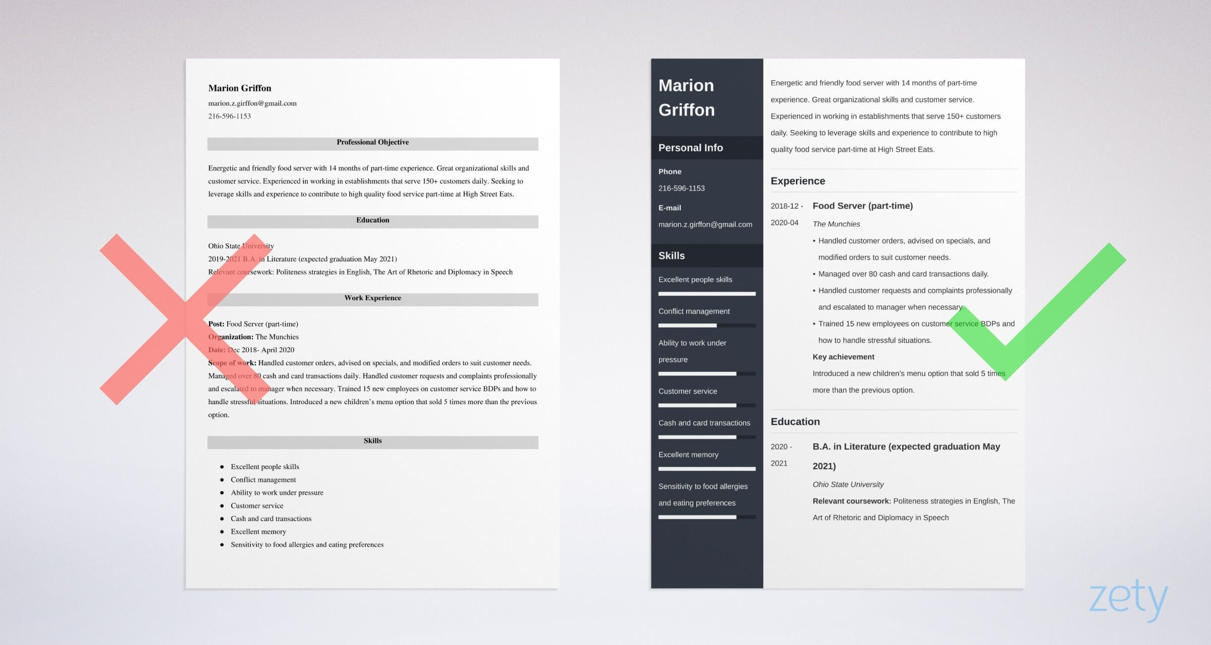 resume for part time job