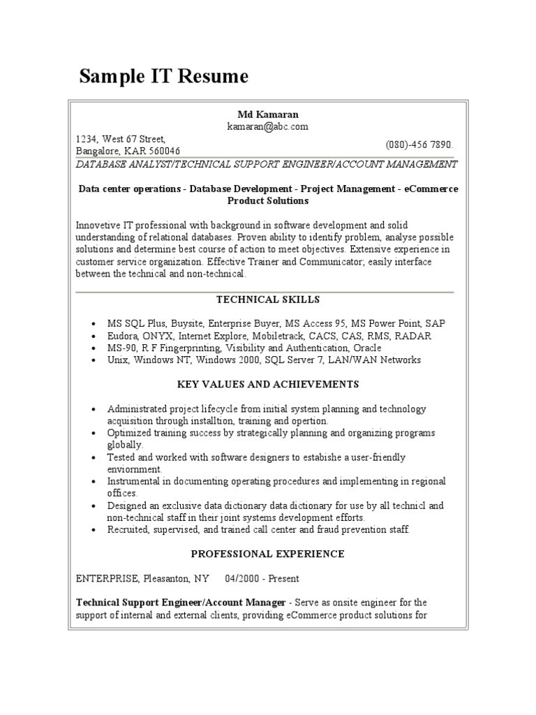 Data Center Operations Engineer Sample Resume Sample It Resume Pdf oracle Database Microsoft Access