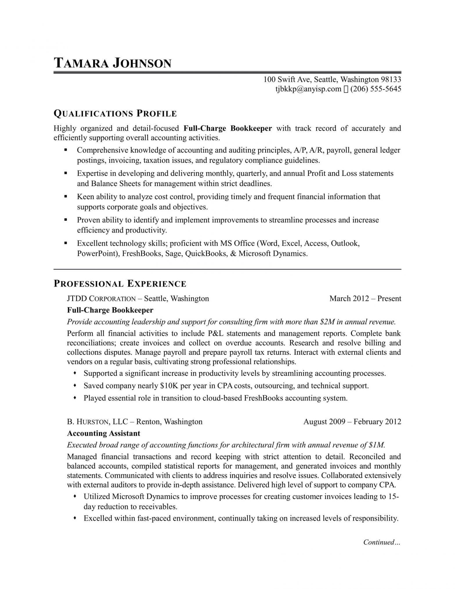 Entry Level Accounting Bookkeeping Resume Sample Bookkeeper Resume Sample Monster.com