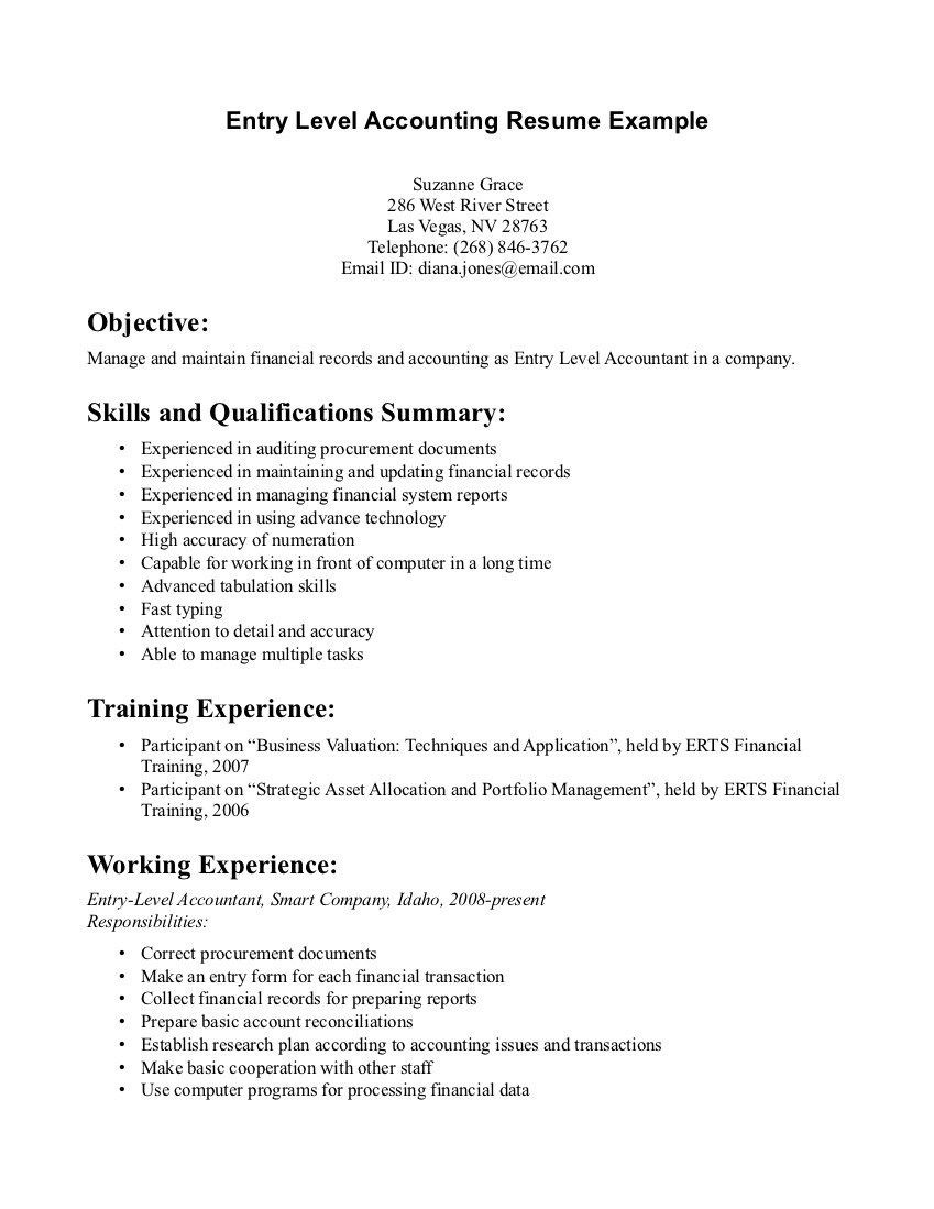 Entry Level Accounting Jobs Resume Sample Entry Level Accounting Resume Examples Resume Examples, Job ...