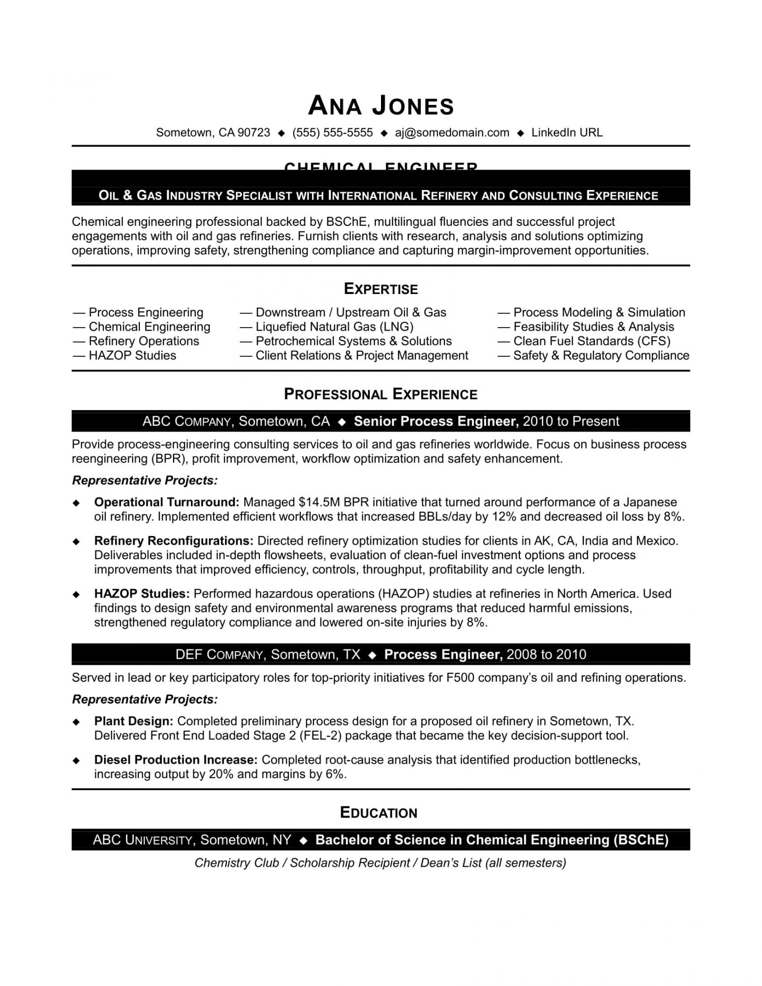 Entry Level Chemical Engineering Resume Sample Sample Resume for Entry Level Chemical Engineer Monster.com