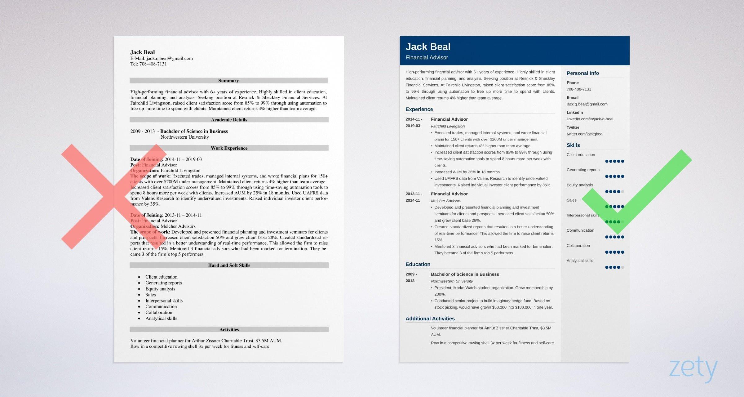 financial advisor resume example