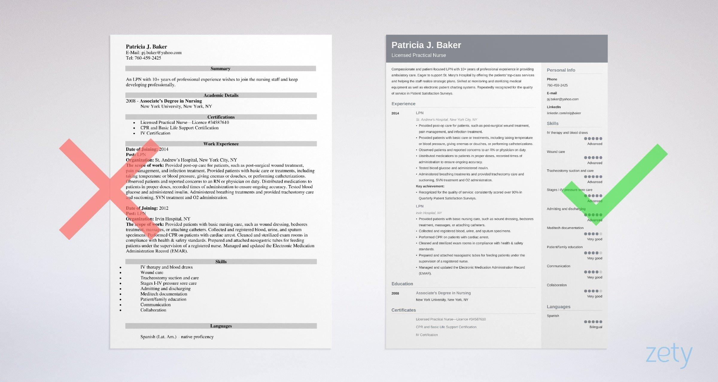 lpn resume example