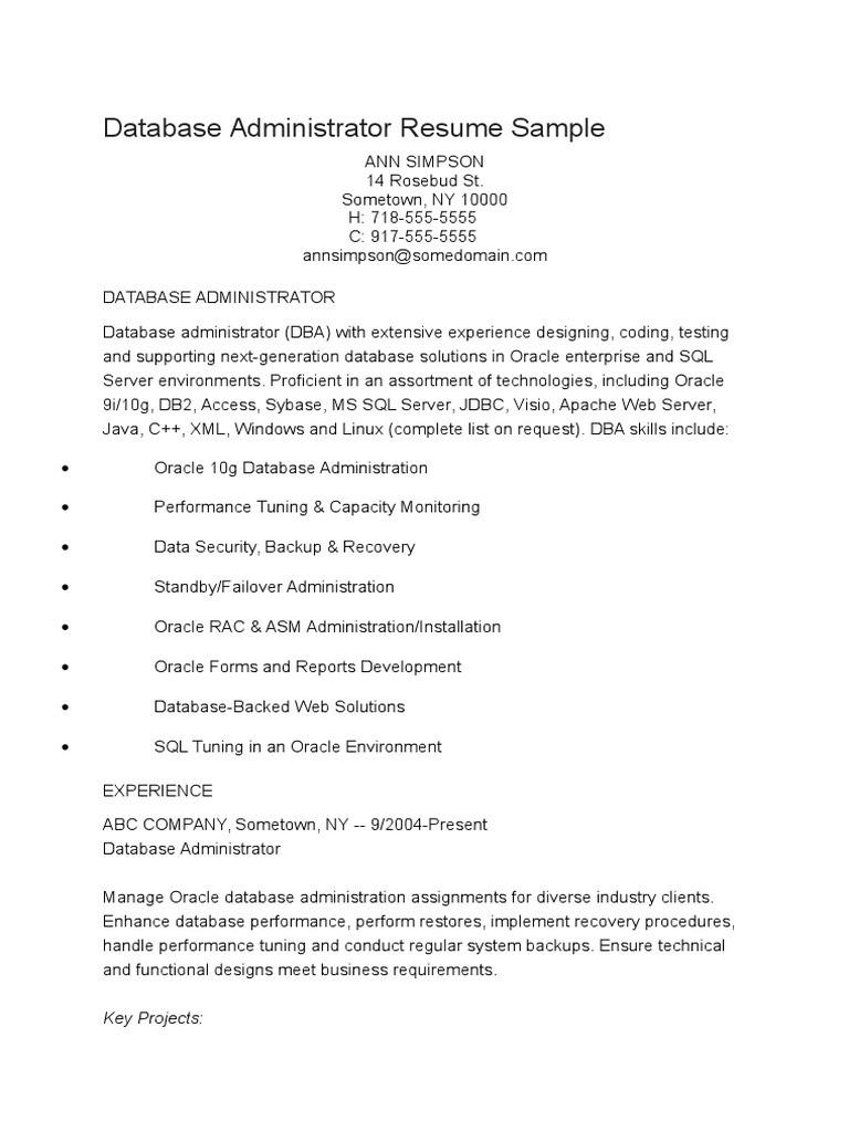 Database Administrator Resume Sample